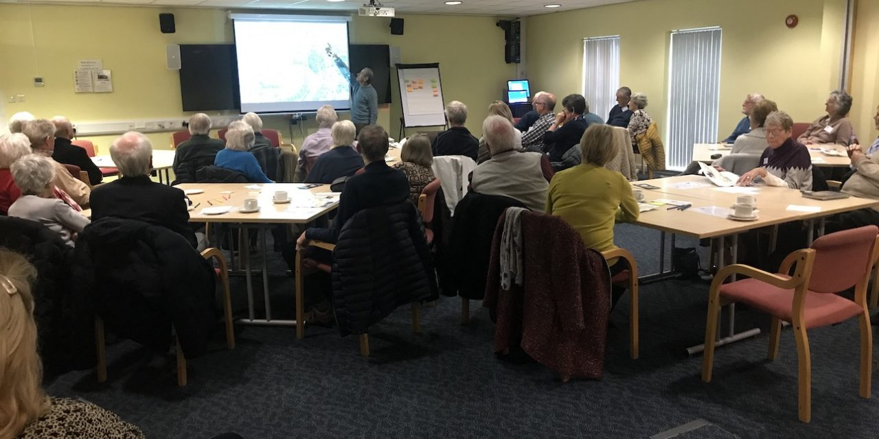 43 attendees benefitted from an excellent talk by Brian Nelson, who is a director of the Shrewsbury  and Newport Canals Trust.
